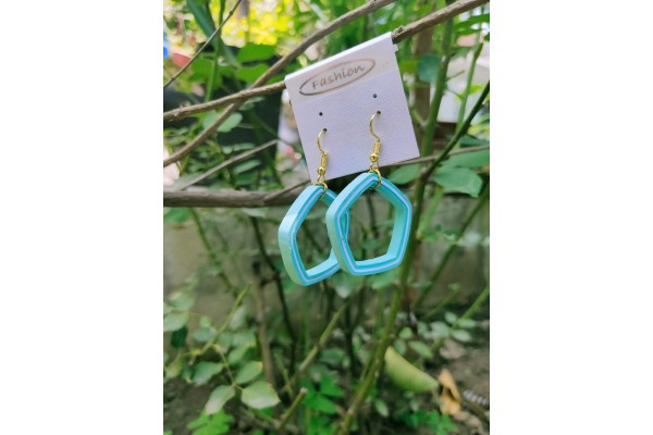 Blue Round Quilling Earrings